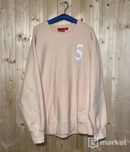Supreme S logo crewneck peach