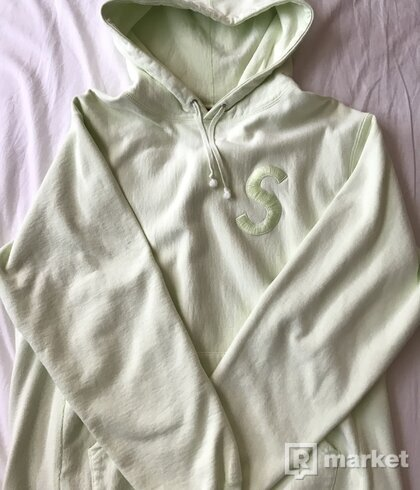 Supreme Tonal S logo Hoodie Pale Lime