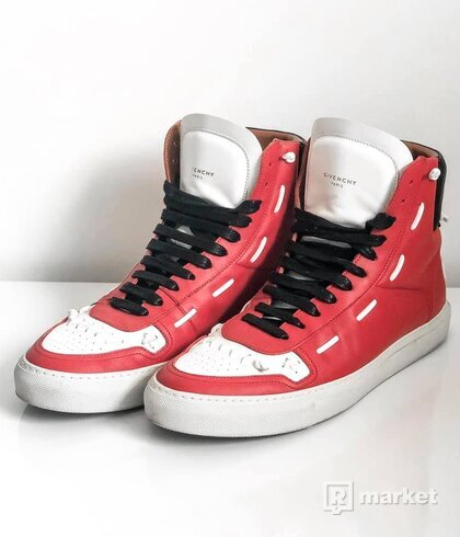Givenchy Urban Whipstitch High-Top Sneaker, Red/White/Black