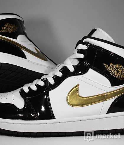 "Air Jordan Retro 1 Mid Patent ""Black Gold"""