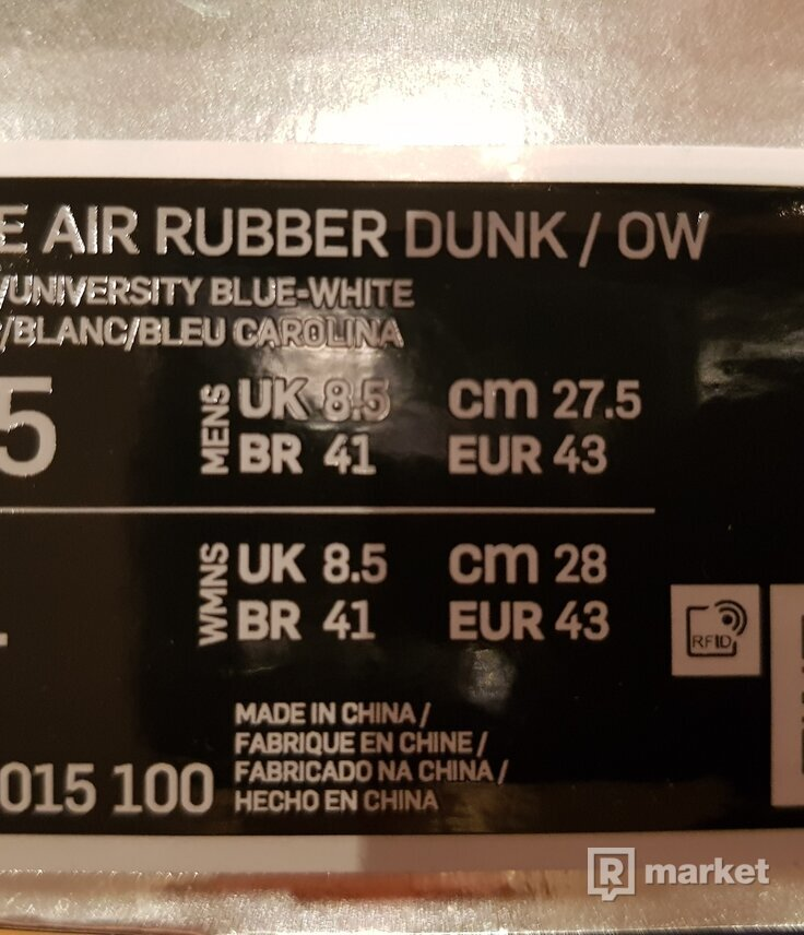 Rubber dunk off white unc
