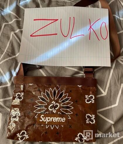supreme bandana tarp side bag brown