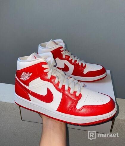 Jordan 1 Mid White-Red