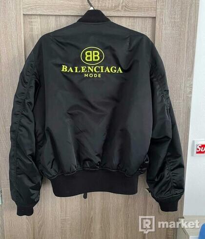 Balenciaga Oversized Emboidered Satin Bomber Jacket