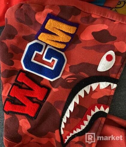 BAPE Shark Hoodie Half Camo Red