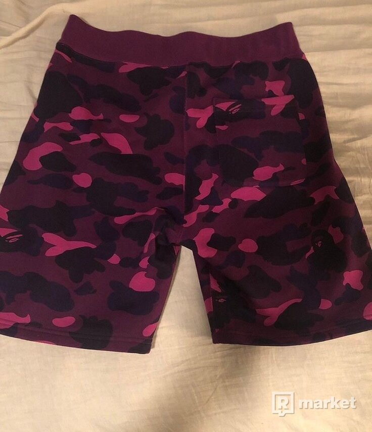 bape shark purple camo shorts