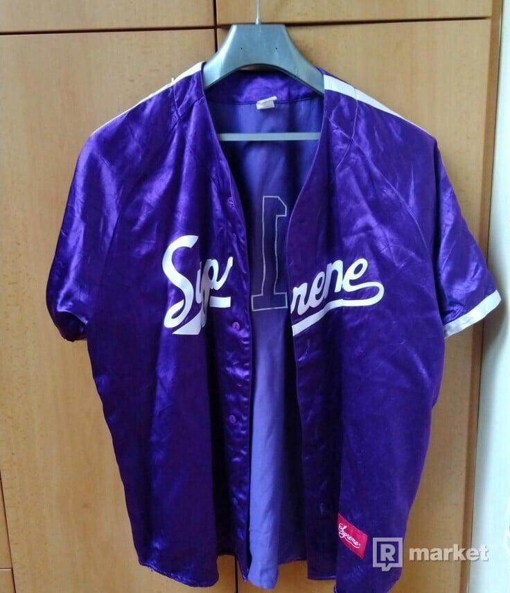 Supreme Satin Baseball Jersey SS17 XL Purple