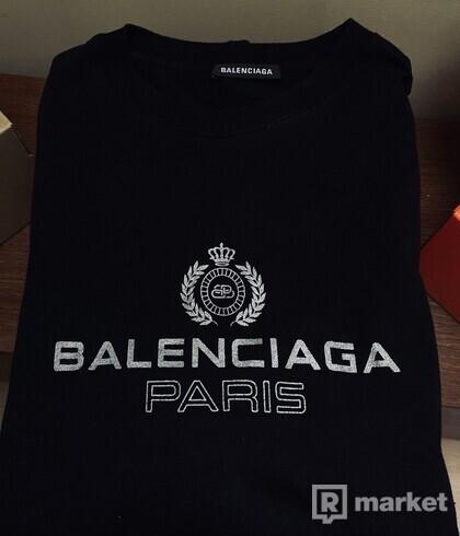 Balenciaga black/silver print tee