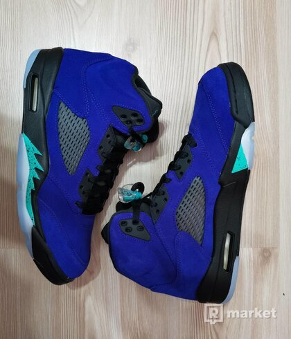 Air Jordan 5 Retro Grape Ice/ New EmeraldBlack-Clear - size : 11, Colour : Blue
