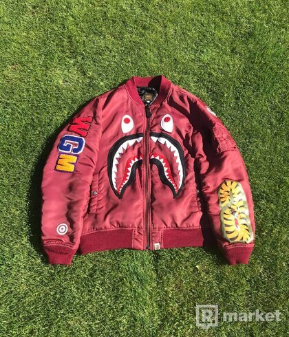 Bape bomber jacket red