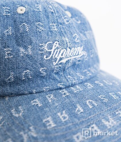 Supreme Jacquard Logos Denim 6 - Panel Cap
