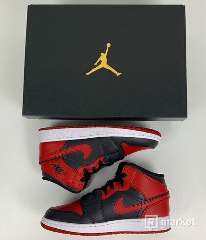 Air Jordan 1 mid Banned, Black/Red , Bred