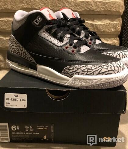 Nike air Jordan 3 black cement(GS)