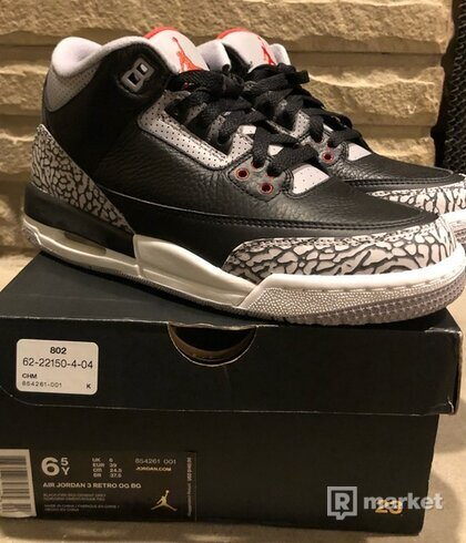 Nike air Jordan 3 black cement(GS)