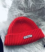Off White Patch Beanie red