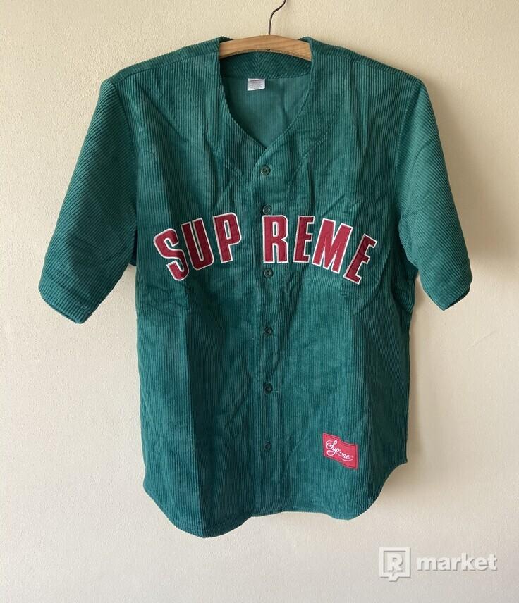 SUPREME Corduroy Baseball Jersey  Dusty Teal