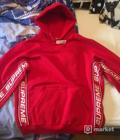 Supreme text rib hooded sweatshirt