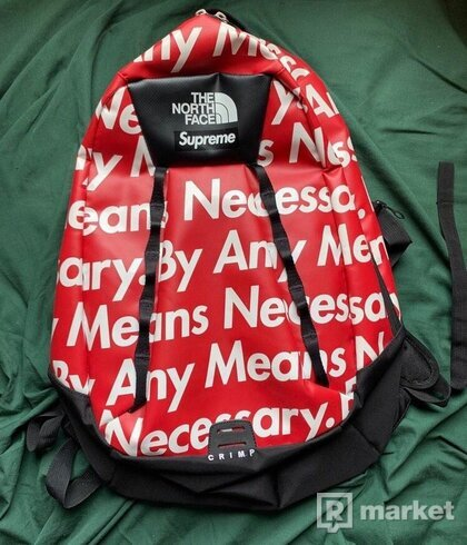 "Supreme x TNF backpack ""by any means necessary"""