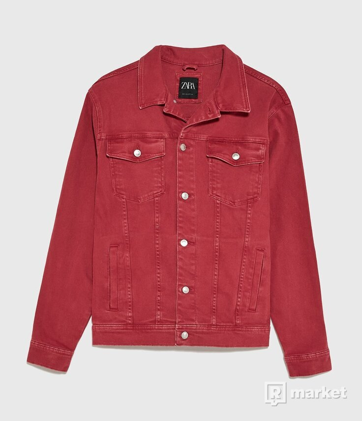 ZARA Basic Denim Jacket Red