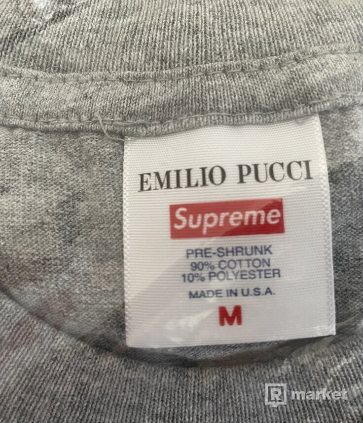Supreme Emilio Pucci Box Logo Tee Heather Grey/Dusty Pink - M